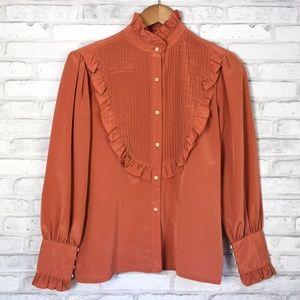 Vintage Mihang Moon Mock Neck Button Down Blouse